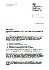 EU Exit Letter to Adult Social Care Providers cover