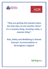 Risk, Safety and Wellbeing in Shared 'Exempt' Accommodation Cover
